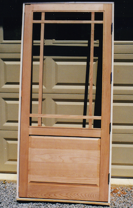 cedar framed screen door