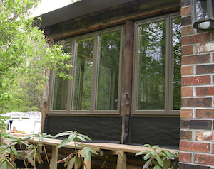 New windows in log cabiin